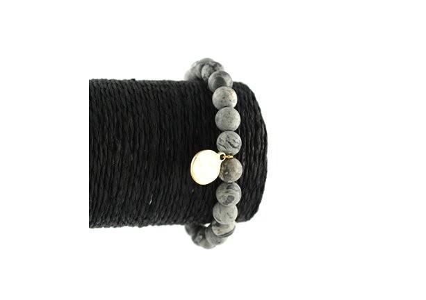 Grey Burnished Gold Charm Matted Semi Precious Stone Stretch Bracelet