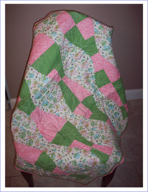 Green & Pink Owl Baby Girl Quilt with Fleece Back Quilted in Daisies
