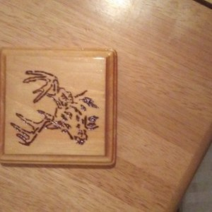 4 NEW WOOD DRINK COASTERS DECORATIVE DEER ELK DESIGN HANDMADE WILD ANIMAL RUSTIC