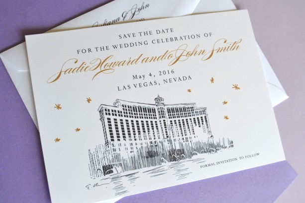 Very Las Vegas Bellagio Hotel Save the Date Cards | aftcra DB22
