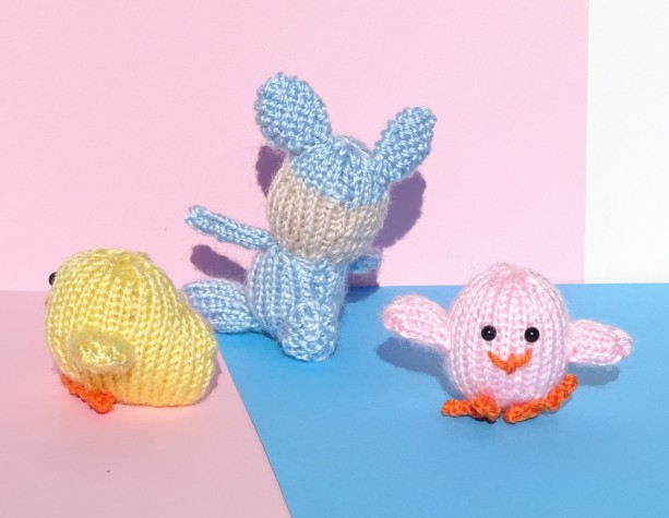 Easter basket toys two chicks and bunny plush toys aftcra chicks easter basket toys knit small toys hand knitted easter gift bunny chicks negle Gallery