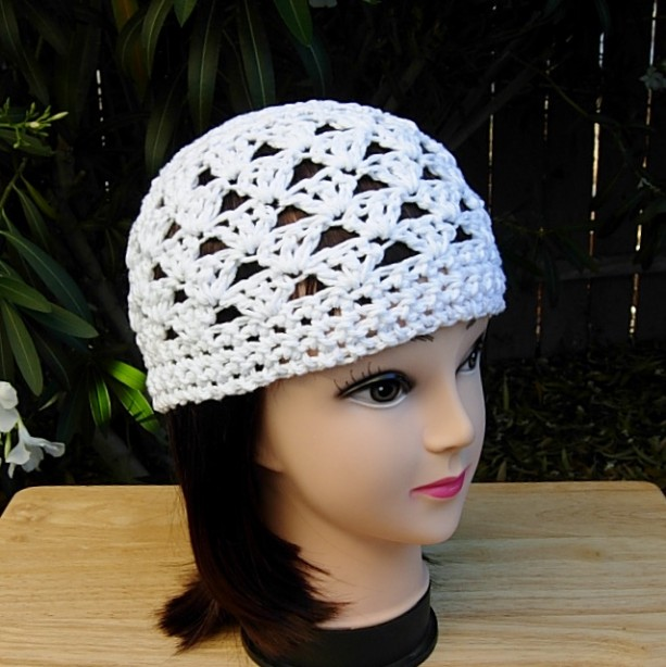 997747849fa Women s Lacy Crochet Summer Cotton Beanie Hat