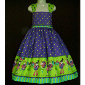 NEW Handmade Dizzy Daisy Lime/Purple Sun Dress Custom Sz 12M-10Yrs