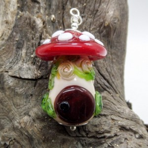 Toadstool Fairy House Glass Pendant