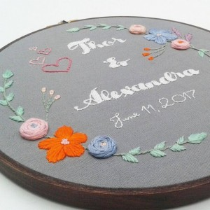 Custom-Made Wedding/Engagement/Anniversary Hand Embroidery Hoop- Wall Art (8 inch)