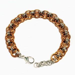 Gold and silver chainmaille bracelet