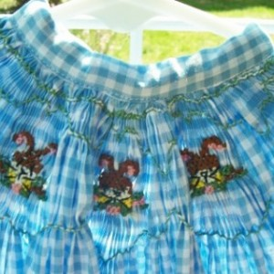English Smocked Dress with Smocked bunnies, size 4