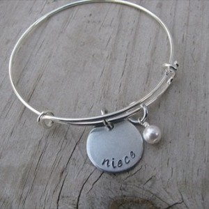 "Niece Bracelet- Hand-Stamped ""niece"" Bracelet with an accent bead in your choice of colors- Gift for Niece"