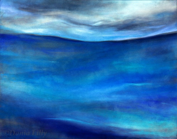 Seascape metal art print of pastel painting by Kauai, Hawaii artist Donia Lilly