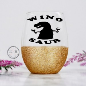 Wino Saur Glitter Wine Glass