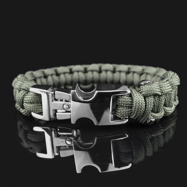 Army Green Designer Unisex Braided Survival Mil-Spec Type III 550 Parachute Cord with Full Metal Alloy Quick Detach Buckle (Chrome)