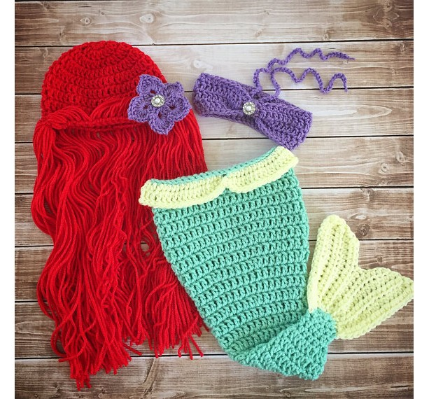 Princess Ariel Inspired Mermaid Costume/Princess Ariel Mermaid Tail/Ariel Wig Hat/Princess Photo Prop - MADE TO ORDER