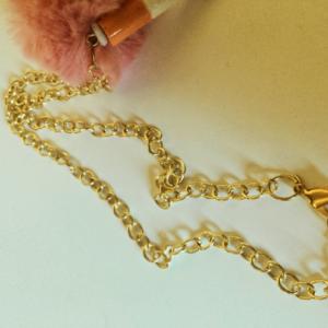 Fake Cigarette Butt and Pink Fur Pom Pom Gross Weird Harajuku Gold Chain Choker