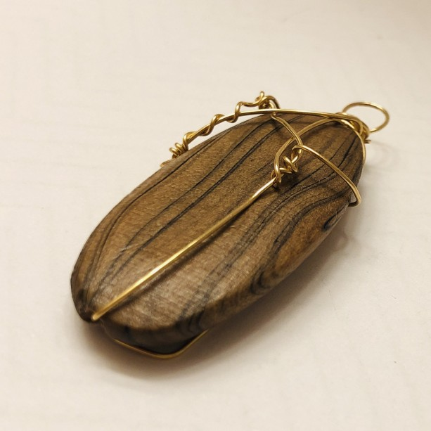 Wire Wrapped Wood Pendant