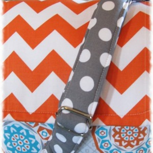 Missy Messenger Diaper Bag Chevron Handbad Tote Orange Blue Gray Medallion Crossbody Adjustable Strap Ready to Ship