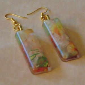 Elongated Rectangular Floral Orange Green White Yellow Golden Resin Earrings