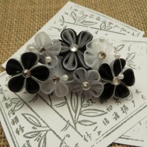 Black & Silver Pearl Swirl Kanzashi