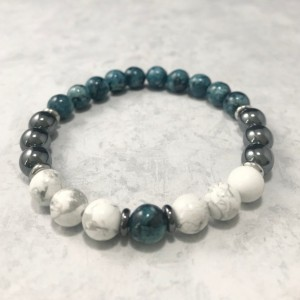 The Ezra | handmade beaded stretch bracelet, howlite, blue green jade, gunmetal, hematite, stainless steel, men's / unisex, Gifts for Him