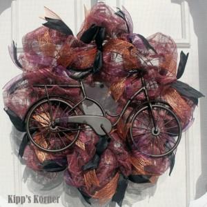 Bicycle Wreath, Bike Wreath, Deco Mesh Wreath, Mesh Wreath, All Season Wreath, Door Decor, Wall Decor, Black Metal Wreath, Purple, Copper