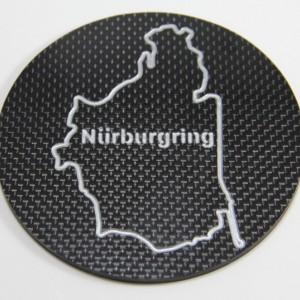 Two NASCAR Carbon Fiber Coasters