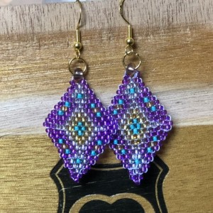 Purple Diamonds with turquoise accents