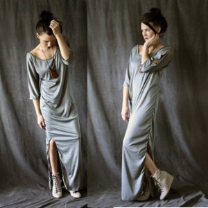 Low Back Loose Fit Boho Maxi Dress in Pebble Grey
