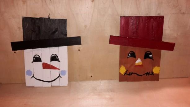 Reversible Snowman Scarecrow Pallet Decoration Wall