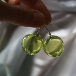 Blown Glass Silver Earrings - Dusk Green Color - Lightweight - Hollow