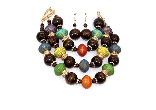 Cultural Gold Plated metal finish natural wooden beads and gold chunky necklace