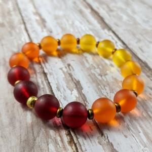 The Athena | handmade ombre red orange yellow sea glass stretch bracelet, Czech glass, frosted sea glass jewelry, Gifts for Her