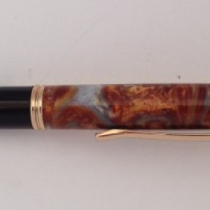 Silver firestorm twist pen in 24kt gold
