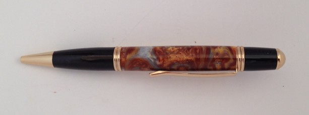 Silver firestorm twist pen in 24kt gold