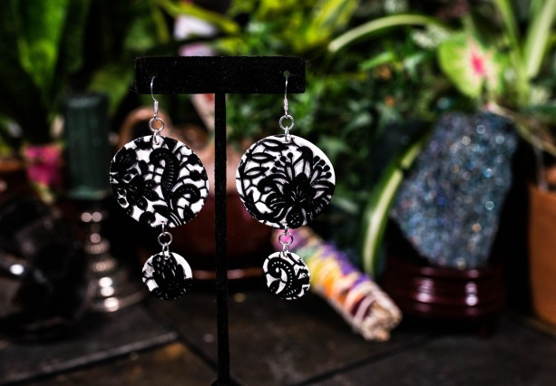 Polymer clay lace earrings