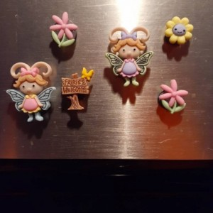 Magnets, 6 Strong Refrigerator Magnets, Cubicle Decor, Locker Magnets, Office Supply,Fairy,Fairy Garden
