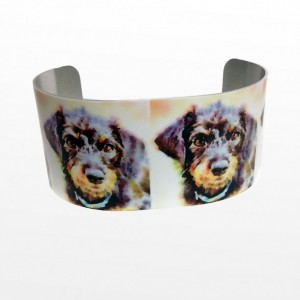 Photo cuff bracelet, aluminum, Whimsical Wire-Haired Doxie