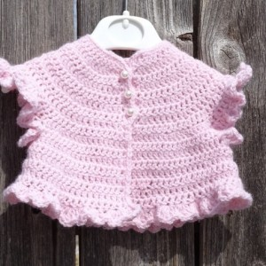 Crochet Baby Cardigan, Matinee Cardigan for 0-3 months Baby Girl, Preemie Pink Cardigan, Crocheted Cardigan, All Handmade, Ready to Ship