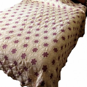 Floral Hand Crocheted Bedspread Cream with Pink Roses full size All Cotton