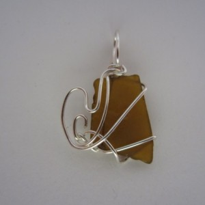 Glass Doesn't Float Brown Sea Glass Pendant