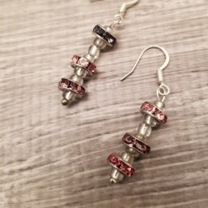 "Handmade Beaded Earrings 3 Beads with Glass Inserts 2"" Long"