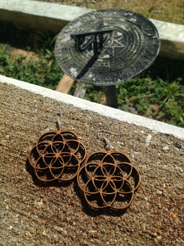 Wooden Unique Flower of Life Design Dangle Earrings - FREE US SHIPPING