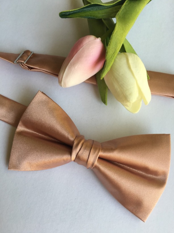 Rose Gold Bow Tie Pre Tied Messy Knot - Rose Gold Wedding - Rose Gold Groom - Rose Gold Bridal - Rose Gold Bride - Rose Gold Ring Bearer