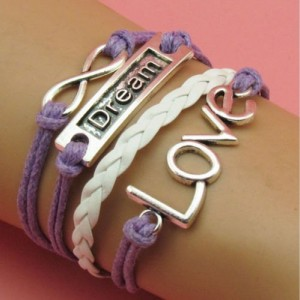 Infinity bracelet Dream bar, LOVE, and Infinity symbol silver tones on purple and white cords