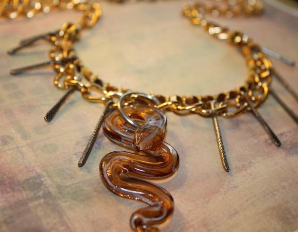 Adjustable Multi Strand Czech Beaded Golden Chain Golden Glass Foil Snake Pendant Necklace