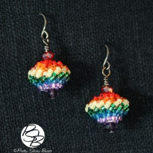 Beaded Bead Earrings – Rainbow