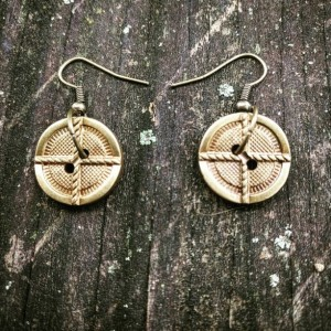 Brass Plated Button Earrings