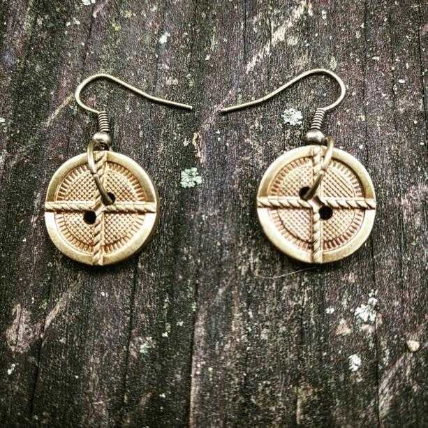 Brass Plated Button Earrings