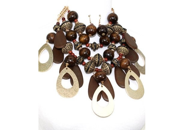 Statement Gold Plated metal finish natural wooden beads and gold chunky necklace