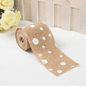 2 inch Burlap Ribbon with White Polka Dots Wreath Wedding Decor Supplies