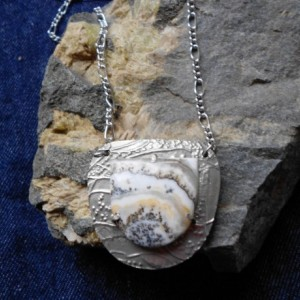 OOAK Nickel Silver Metal Clay Shield Pendant with Silver Lace Onyx
