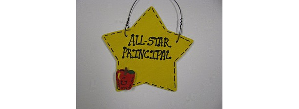 Teacher Gifts Yellow Star w/Apple  7008 All Star Principal